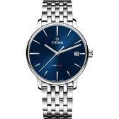 TITONI 梅花錶 LINE1919 百年紀念 T10 機械錶-藍x銀/40mm 83919 S-612