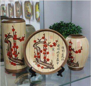 彩繪陶藝工藝品三件套