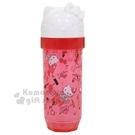 〔小禮堂〕Hello Kitty 造型蓋透明塑膠棉花棒罐《紅.滿版》隨身置物罐.收納罐.銅板小物 4573135-58461