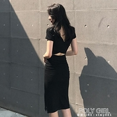 長洋裝 2021夏季新款性感露背中長款顯瘦氣質修身包臀洋裝港味時尚女裝 夏季狂歡