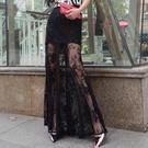 長裙 B021大碼秋季新性感鏤空高腰蕾絲修身顯瘦半身長裙魚尾裙沙灘裙女