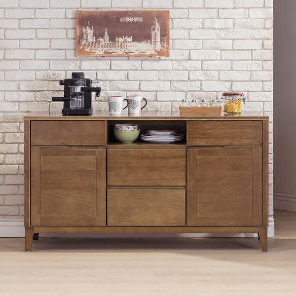 【森可家居】米雅淺胡桃5尺廚房餐櫃 7SB340-1 碗盤收納 中島 實木 日式無印風