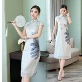 中大尺碼 旗袍洋裝夏季中長新款女裝復古改良時尚修身日常旗袍LJ9900『夢幻家居』