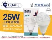 ADATA威剛照明 AL-BUA35C2-25W30C LED 25W 3000K 黃光 E27 全電壓 球泡燈 _ AD520024
