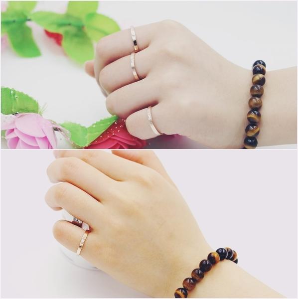 316L醫療鋼 素面單小鑽 戒指指節戒尾戒-銀、玫瑰金 防抗過敏 不退色