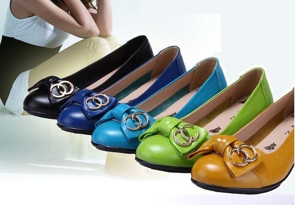 卡樂color..大尺碼女鞋真皮平跟平底蝴蝶結休閒舒適媽媽孕婦女鞋5色35-40 #hn9919