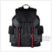 GUCC 雙G LOGO藍紅藍織帶緹花布扣式後背包(黑)