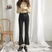 秋冬圓環裝飾彈力顯瘦喇叭褲不規則撕邊牛仔褲女褲LJ2686『miss洛羽』