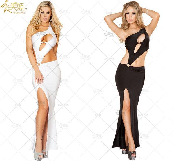 衣美姬♥ 歐美黑白兩色性感連身長裙 夜店舞者必備 開岔斜肩 露胸晚禮服舞台裝