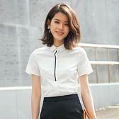 職業裝白色襯衫女夏韓版短袖正裝襯衣工作服【熊貓本】