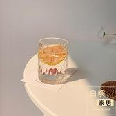 錘目紋玻璃水杯耐熱牛奶杯冰咖啡杯拿鐵杯飲料水杯【白嶼家居】