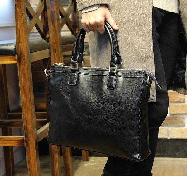 FINDSENSE Z1 韓國 時尚 潮 男 皮質 商務 電腦包 手提包 單肩包