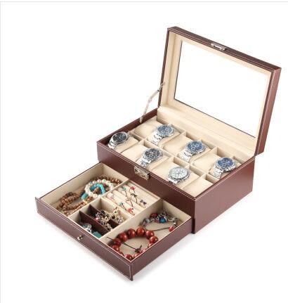 雙層帶鎖首飾盒 手錶眼鏡戒指項鍊飾品展示盒