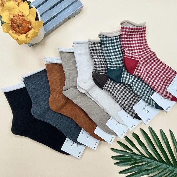 格紋捲邊襪 小格子 格紋襪子 純色日系襪子 簡約可愛風 捲邊襪子 韓國襪子