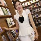 U型領腰部扣結顯瘦短袖OL西裝外套~美之...