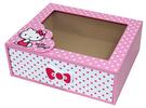 【震撼精品百貨】Hello Kitty 凱蒂貓~HELLO KITTY圓點風收納盒-粉