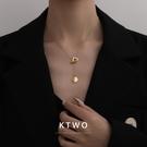 輕奢時尚新款歐美范包K金色項鏈女韓版簡約ins潮個性毛衣鏈鎖骨鏈 初色家居館