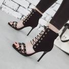 中大尺碼女鞋 高跟綁帶涼鞋系帶潮流韓版后拉鏈絨面露腳趾透氣鞋小碼32大碼46