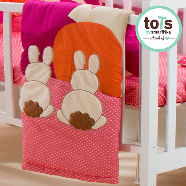 【英國smarTrike-Tots 】英國兔立體刺繡雙面被-花朵粉