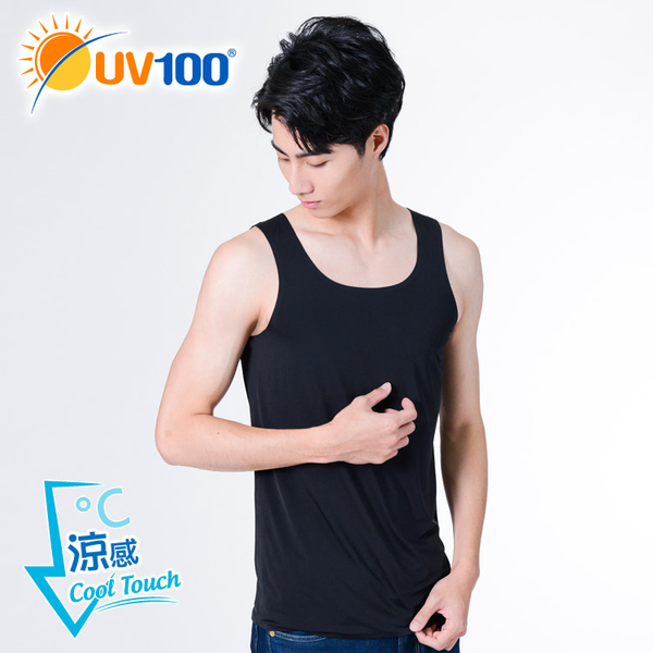 UV100 防曬 抗UV-超涼感絲光無痕合身背心-男