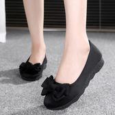 女鞋平底軟底豆豆鞋單鞋時尚舒適孕婦鞋黑色工作鞋『小淇嚴選』
