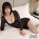 天使波堤【LD0401】透明條紋大領口長...
