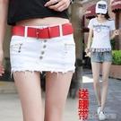 超短裙夏季新款韓版修身低腰牛仔短裙包臀半身裙排扣假兩件褲裙女潮 大宅女韓國館