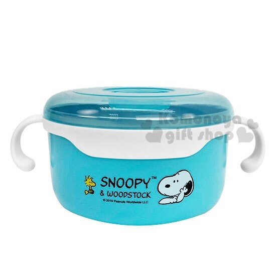 〔小禮堂〕史努比 透明蓋不鏽鋼雙耳隔熱碗《藍.撐頭》620ml.便當盒.保鮮盒 4712977-46532