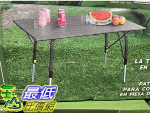 [COSCO代購] C2000582 TIMBER RIDGE CAMP TABLE 輕量鋁合金戶外折疊桌  110 X 70 X高45~70公分