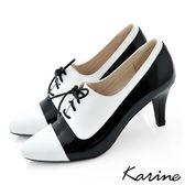 全真皮拼色綁帶尖頭高跟踝靴-白黑色‧MIT台灣製‧karine