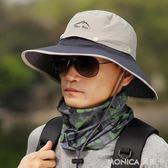 太陽帽男遮陽帽夏季釣魚帽子男士防曬帽戶外防紫外線大檐漁夫帽男 莫妮卡小屋