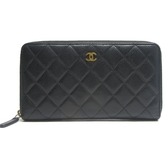 CHANEL 香奈兒 黑色荔枝牛皮菱格紋ㄇ字長夾 Classic Long Zipped Wallet【BRAND OFF】