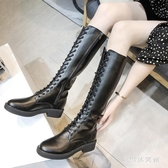 秋款加絨中筒胖mm長筒靴女時尚皮面高筒靴馬靴騎士靴 XN7849【123休閒館】