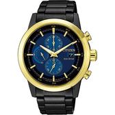 CITIZEN 星辰 光動能計時手錶-香檳金/43mm CA0614-51L