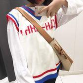 ZUCAS~(HL-1716)毛衣馬甲女秋季學院風原宿V領無袖學生背心韓版寬鬆字母針織衫
