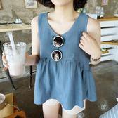 2018夏季新款寬鬆顯瘦高腰娃娃衫女棉麻上衣