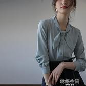 藍色雪紡襯衫女秋款長袖設計感小眾上衣復古港味襯衣氣質輕熟風