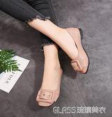 紅色淺口平底單鞋孕婦鞋低跟高中低筒皮帶扣工作鞋女鞋    琉璃美衣