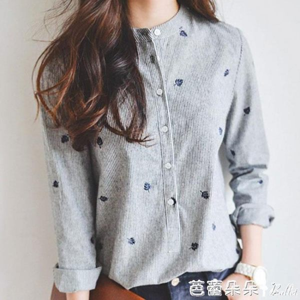【買一立折五折】2019春裝新款襯衫女修身 韓版精品寬鬆顯瘦百搭學生棉麻長袖『芭蕾朵朵』