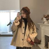 毛呢外套 秋季2020新款韓版寬鬆百搭外穿毛呢外套女復古開衫Polo領上衣ins 新年慶