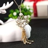 珍珠毛衣鍊-中國風鑲鑽生日情人節禮物女項鍊2色73gc154【時尚巴黎】