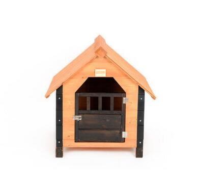 凱蒂寵物  華元實木戶外狗屋貓窩泰迪寵物狗室內房子中大型邊牧別墅金毛狗籠 M-59*67*76cm