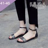 大尺碼女鞋-凱莉密碼-時尚金屬條紋瑪莉珍真皮平底涼鞋2cm(41-46)【YG4055】黑色