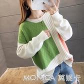 實拍~好質量網紅同款包芯紗毛衣外套女新款寬鬆洋氣百搭針織潮 莫妮卡小屋