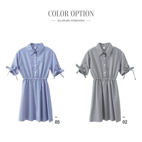 洋裝 細格紋蝶結綁袖縮腰連身裙-BAi白媽媽【190426】