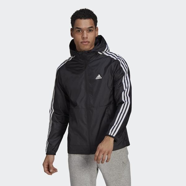 Adidas 3-Stripes 男款黑色連帽運動外套-NO.GQ0600