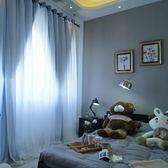 公主房遮光窗簾帶紗客廳臥室雙層窗簾布紗一體飄窗短簾成品   LannaS