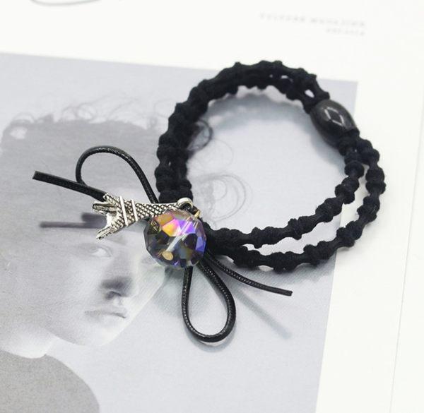 新款 時尚 鐵塔 水晶 珠子 雙層 藕節 髮圈 皮筋 珍珠 髮飾