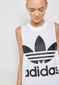 愛迪達 adidas 三葉草 CE5580 白色 白黑色 大LOGO 基本款 運動背心 小可愛 無袖背心/澤米