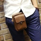 男包 手機包正韓男士腰包皮質小包戶外休閒迷你挂包瘋馬皮煙包